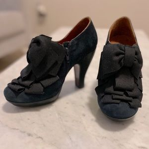 Chie Mihara Blue Suede Ruffle Bow Catame Booties